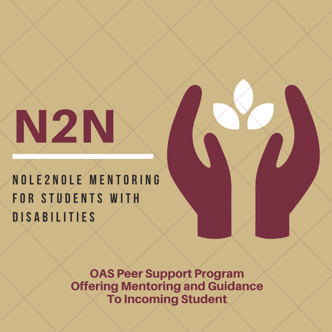 "Promotional graphic advertising OAS""s Peer Mentor Program, Nole2Nole Peer Mentoring."
