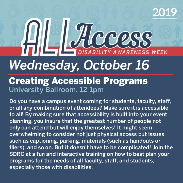 Graphic detailing event for October 16th during Disability Awareness Week