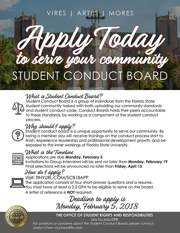 Apply today to serve your community on the Student Conduct Board