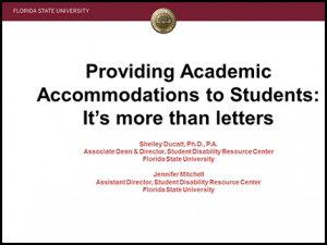 Image of powerpoint from the SDRC's seminar for faculty and staff, Providing Academic Accommodations to Students: It's More than Just Letters