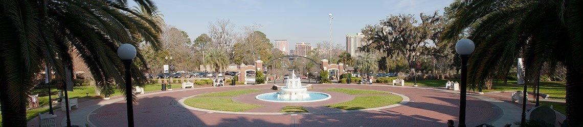 Wide-shot photo of Wescott Fountain and the circular brick pathway around it